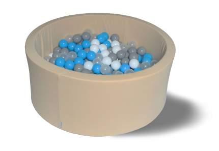 Сухой игровой бассейн Брызги на песке 40см, с 200 шарами: бел, прозр, голуб, сер