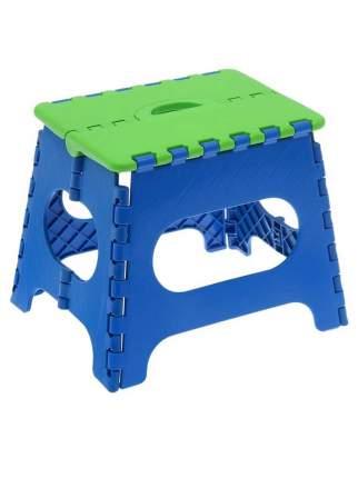 Табурет Трикап складной пластиковый средний, салатовая крышка, синяя основа