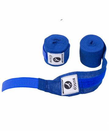 Бинт боксерский Rusco Sport, 4,5 м, хлопок, синий