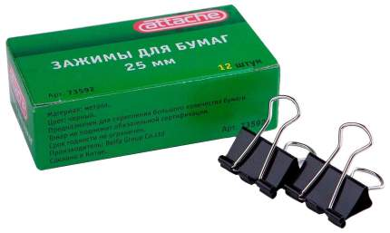 Зажимы для бумаг Attache Черные 22 мм