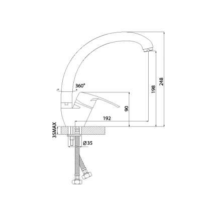Смеситель для кухонной мойки Rossinka Silvermix F40-23 хром