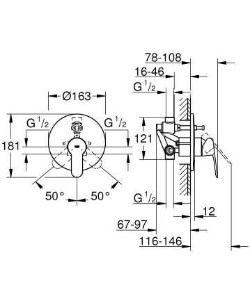 Смеситель для встраиваемой системы Grohe BauEdge 29079000 хром