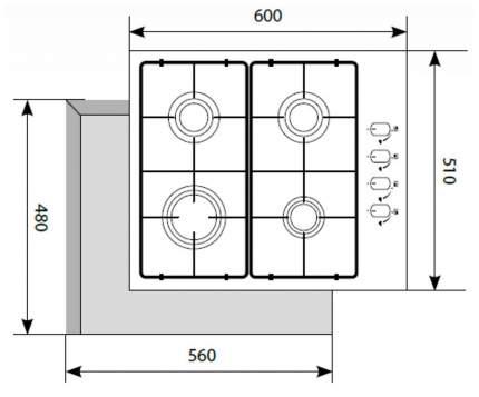 Встраиваемая варочная панель газовая LEX GVS 644-1 IX Black