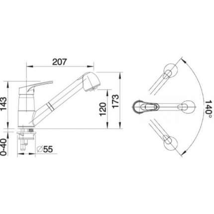 Смеситель для кухонной мойки Blanco WEGA-S 514972 серый шелк