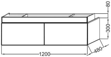 Тумба под раковину Terrace 120х48х38, белый, Jacob Delafon без раковины