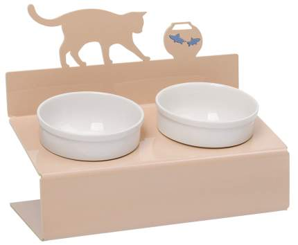 Двойная миска для кошек и собак Artmiska, керамика, пластик, бежевый, белый, 0.7 л