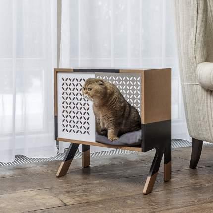 Домик для кошек Pettel LOFT, бежевый, белый, черный, 54x31x59см