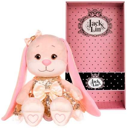 Мягкая игрушка животное Jack&Lin Зайка в золотом платьице с пайетками 20 см