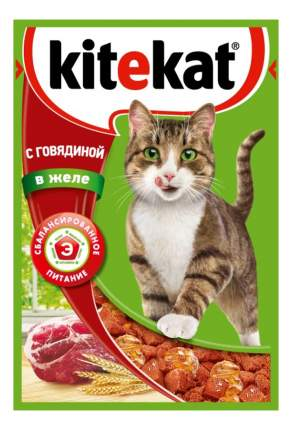 Влажный корм для кошек Kitekat, говядина в желе, 24шт по 85г