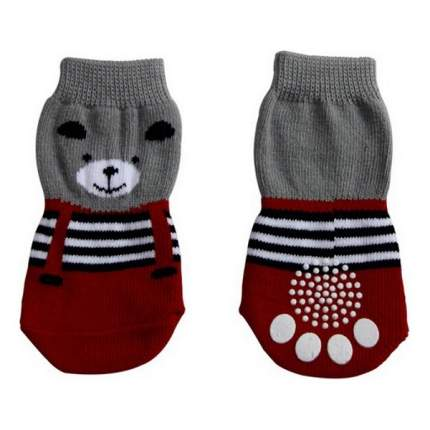 Носки для собак Triol размер L, 2 шт серый, красный