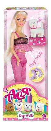 Кукла Ася Блондинка в розовом Прогулка с щенком