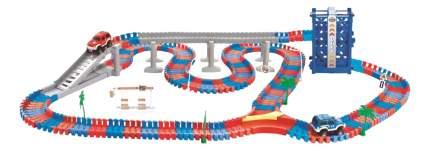 Гибкий трек Мегаполис 1Тoy 258 деталей, мост, ускорение, лифт, 2 машинки Т10200