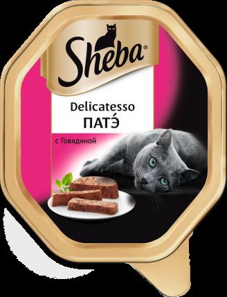 Консервы для кошек Sheba Delicatesso патэ с говядиной, 11 шт по 85г