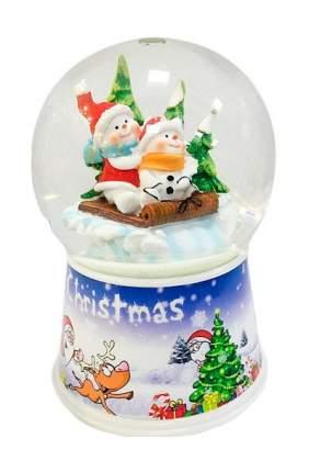 Снежный шар Новогодняя сказка Снеговики на санках 10 см 972481