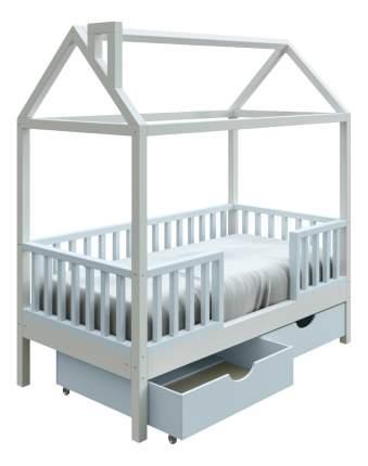 Кровать-домик Трурум KidS Сказка узкий бортик, ящики голубо-белая