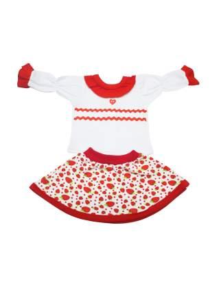 Блуза с юбкой для куклы Колибри 102 белая с красным