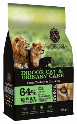 Сухой корм для кошек Ambrosia Indoor Cat Fresh Turkey&Chicken, индейка и курица, 2кг