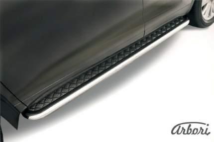 Защита порогов d57 с листом усиленная Arbori нерж. сталь для Geely Atlas 2016-нв