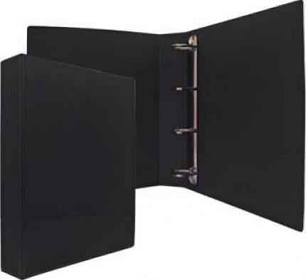 Папка-файл на 4 кольцах Panta Plast Черная, PVC, 25 мм, диаметр 16мм