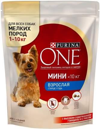 Сухой корм для собак Purina One Мини Взрослая, говядина, рис, 0,6кг