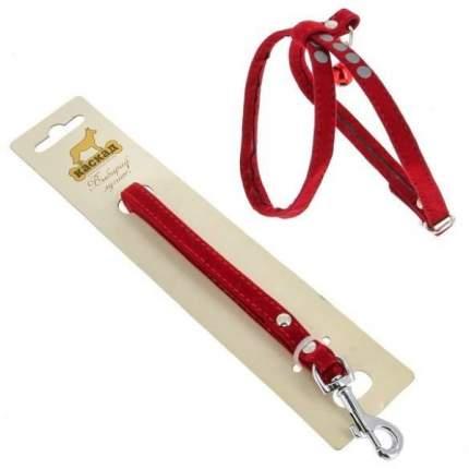 Комплект Поводок и шлейка Каскад флок красный для собак 120см + 22/35см