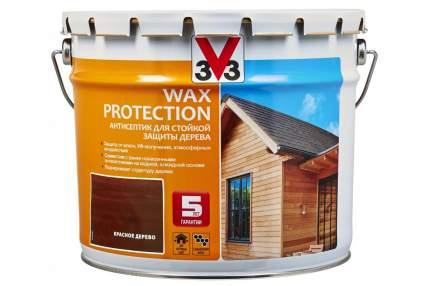 Пропитка для дерева V33 Wax Protection 9 л красное дерево