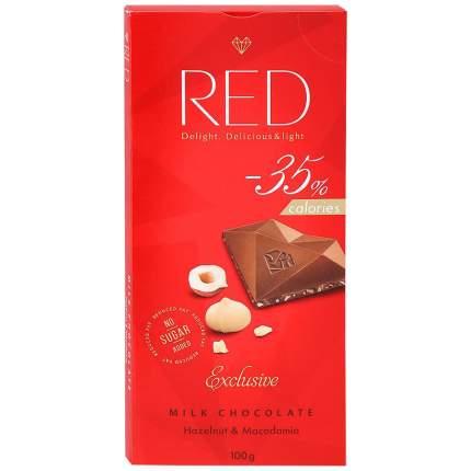 Шоколад молочный Red с фундуком и макадамией со сниженной калорийностью 100 г