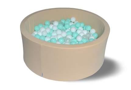 Сухой игровой бассейн Ванилька 40см с 200 шарами: бел, прозр, мятные