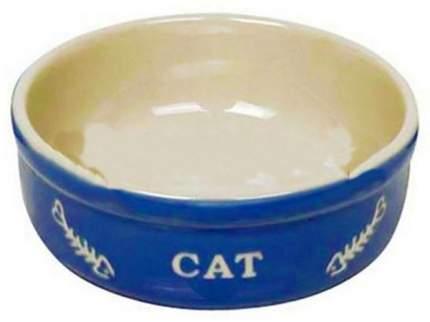 Одинарная миска для кошек Nobby, керамика, синий, 0.24 л
