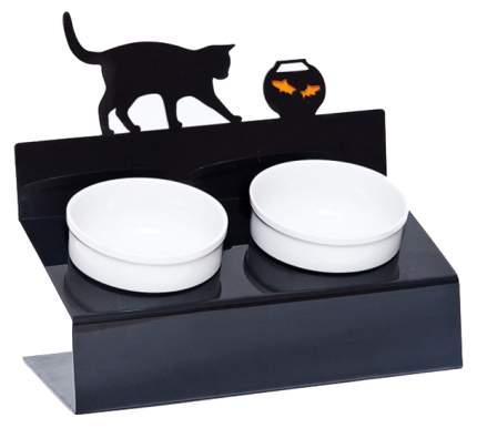 Двойная миска для кошек Artmiska, керамика, пластик, белый, черный, 2 шт по 0.35 л