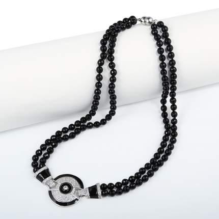 Бусы My-bijou Круг, агат черный / эмаль черная 45-50 см