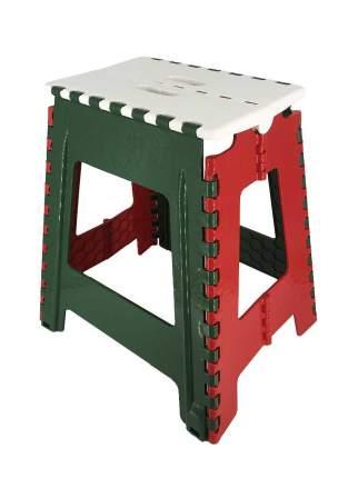 Табурет складной пластиковый Трикап 100001 белый/зеленый/красный