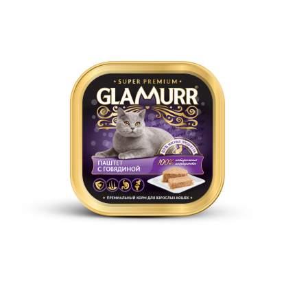 Консервы для кошек Glamurr Super Premium, паштет с говядиной, 100г