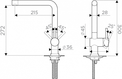 Смеситель для кухонной мойки OMOIKIRI New day Akashi OAK-CR-35 хром