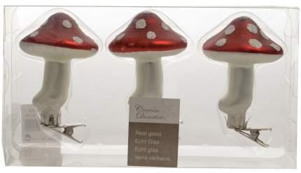 Набор елочных игрушек Kaemingk Грибы-Мухоморы 9 см, 3 шт, стекло, клипса 129241
