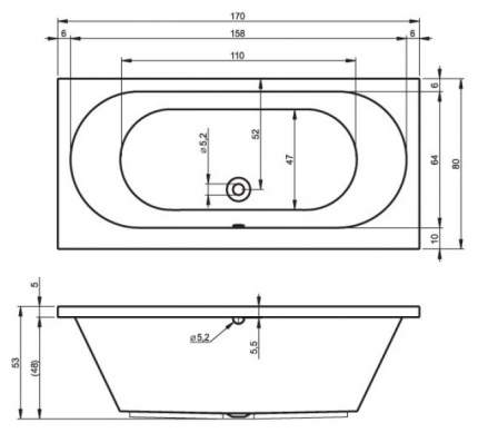 Акриловая ванна Riho Carolina 170х80 без гидромассажа