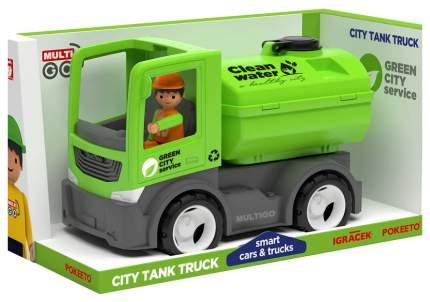 Городской грузовик с цистерной и водителем