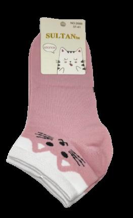 Носки женские низкие Котики розовые, размер 37-41
