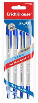 Ручки Erich Krause R-301 шариковые синие 4шт