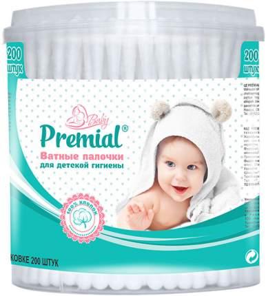 Ватные палочки Premial детские (цилиндр) 200 шт.