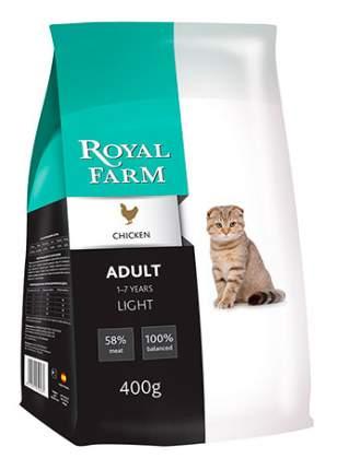 Сухой корм для кошек ROYAL FARM Light, при избыточном весе, курица, 0,4кг