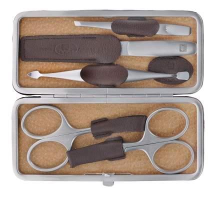 Маникюрный набор TWINOX, 5 предметов, рамочный футляр из коричневой ловёвой кожи