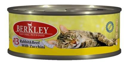 Консервы для кошек Berkley Adult Cat Menu, кролик, говядина, цуккини, 6шт, 100г