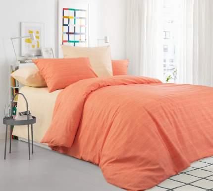 """Постельное белье """"Сочный апельсин"""" (на резинке) 2-спальное из 100% Хлопка (перкаль)"""