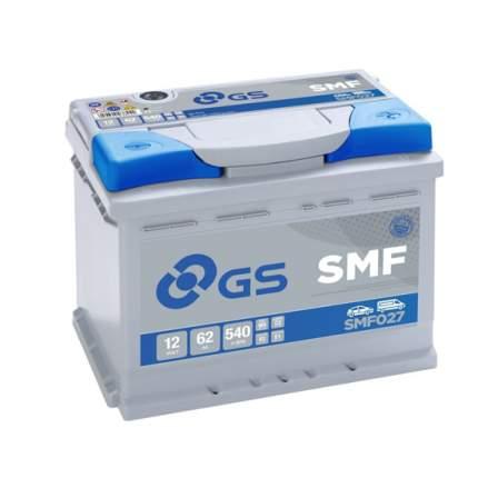 Аккумулятор GS Yuasa GS SMF027 12В 62Ач 540CCA 242x175x190 мм Обратная (-+)