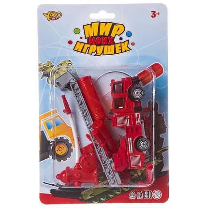 Набор пластм. Пожарная служба, 6 предметов, машина инерционная, стрела поднимется