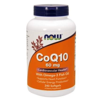NOW CoQ10 60 мг + Омега 3 (240 капсул) - коэнзим Q10