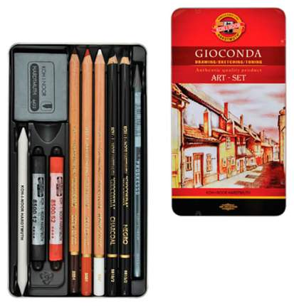 Набор художественный Koh-i-noor Gioconda, 10 предметов, металлическая коробка