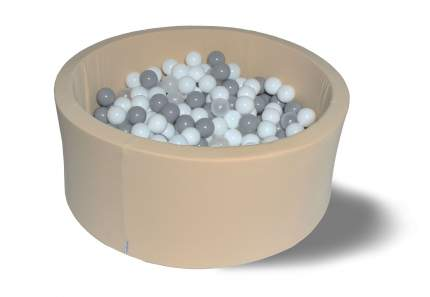 Сухой игровой бассейн Жемчужый снег 40см, с 200 шарами: бел, прозр, серые