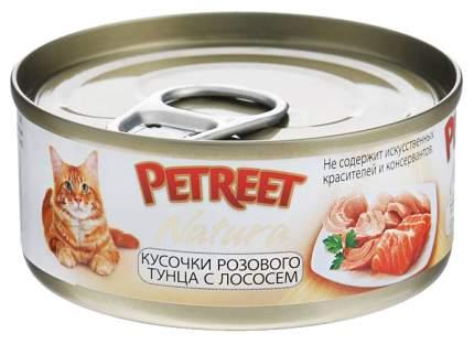 Консервы для кошек Petreet Natura, розовый тунец, лосось, паштет, 70 г 12 шт